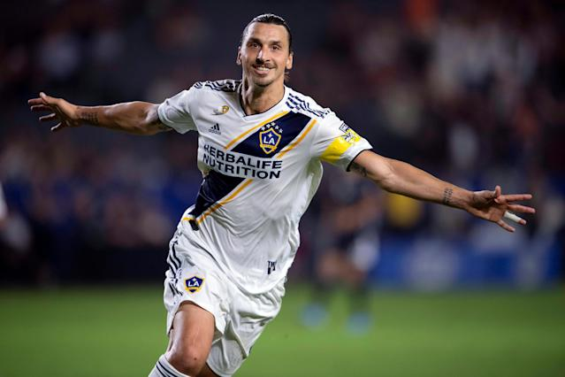 "<a class=""link rapid-noclick-resp"" href=""/soccer/players/374294/"" data-ylk=""slk:Zlatan Ibrahimovic"">Zlatan Ibrahimovic</a> will continue his career in Serie A with AC Milan. (Kelvin Kuo-USA TODAY Sports)"