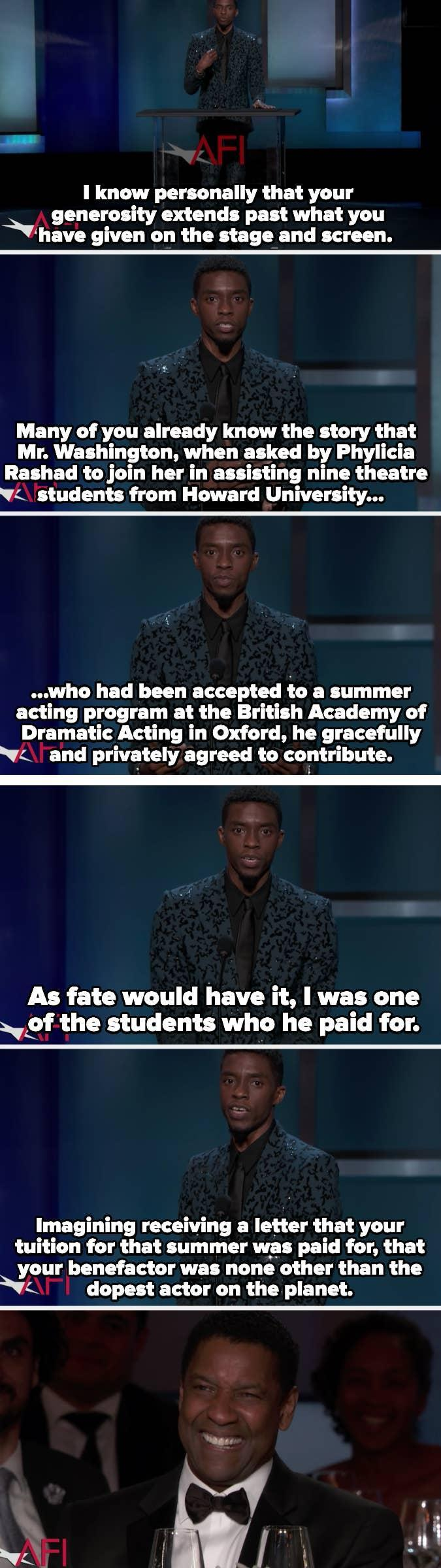 """Chadwick describes his reaction upon hearing his tuition was paid for by """"the dopest actor on the planet"""""""