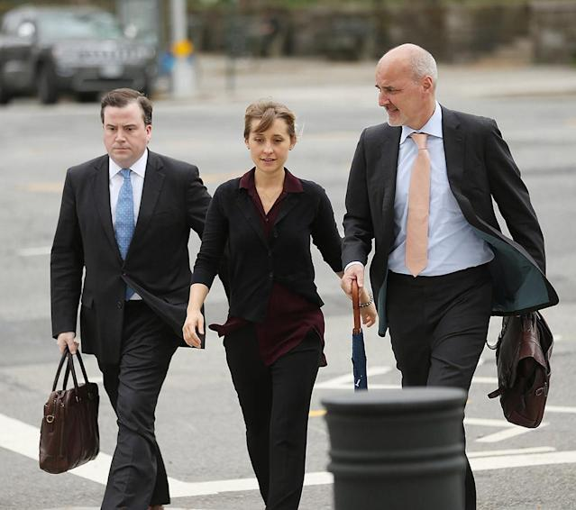 Allison Mack arrives at the U.S. Eastern District Court in New York for a bail hearing in relation to sex-trafficking charges. (Photo: Jemal Countess/Getty Images)