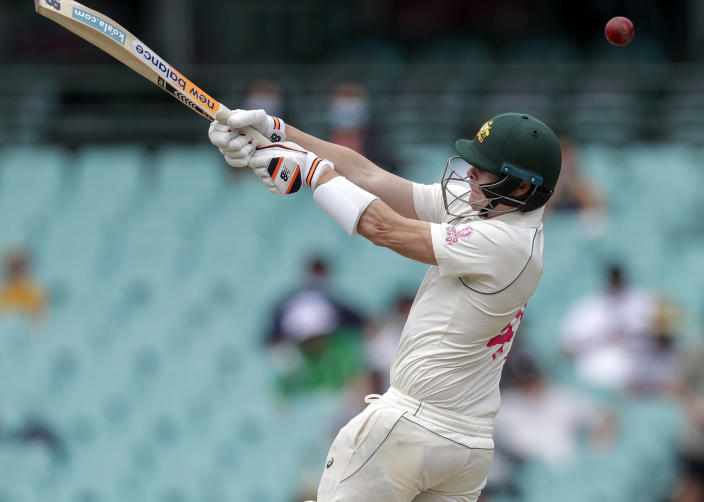 Australia's Steve Smith bats during play on day two of the third cricket test between India and Australia at the Sydney Cricket Ground, Sydney, Australia, Friday, Jan. 8, 2021. (AP Photo/Rick Rycroft)