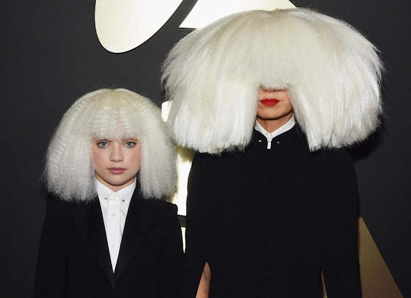 Dancer Maddie Ziegler and singer-songwriter Sia at the Grammy awards in 2015.