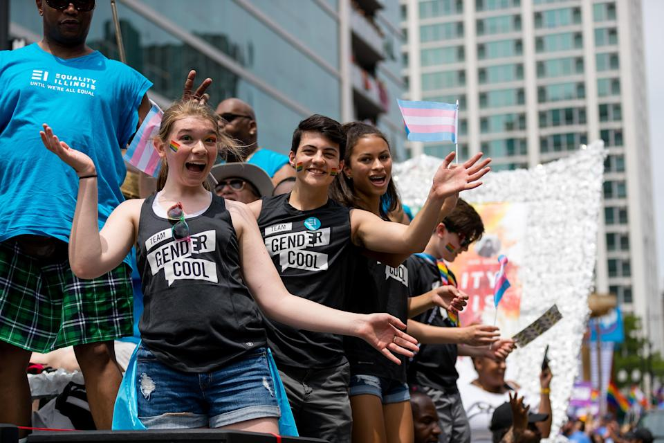 Young revelers aboard a GenderCool float in Chicago's LGBTQ Pride March, 2019. (Photo: Jen Grosshandler)