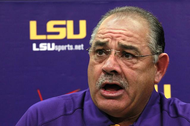 FILE - In this Aug. 7, 2012, file photo, LSU defensive coordinator John Chavis talks during an NCAA college football media day in Baton Rouge. Chavis is trying to figure out fast which of more than a half-dozen true freshman will be able to handle crunch-time responsibilities when the Tigers enter the heart of their Southeastern Conference slate. (AP Photo/Gerald Herbert, File)