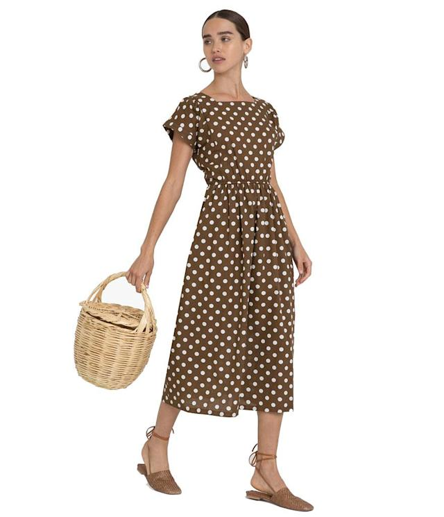 "<p>Polka dot midi dress, $88, <a href=""https://www.pixiemarket.com/collections/dresses/products/brown-polka-dot-midi-dress?variant=6473474048032"" rel=""nofollow noopener"" target=""_blank"" data-ylk=""slk:pixiemarket.com"" class=""link rapid-noclick-resp"">pixiemarket.com</a> </p>"
