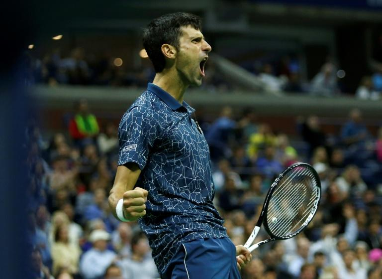 Mighty roar: Novak Djokovic celebrates a point
