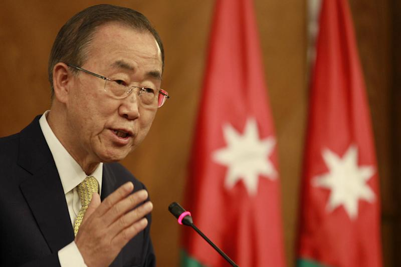 United Nations chief Ban Ki-moon speaks at a press conference with the Jordanian Foreign Minister in the capital Amman on July 23, 2014, as part of talks to try to broker an end to violence in Gaza