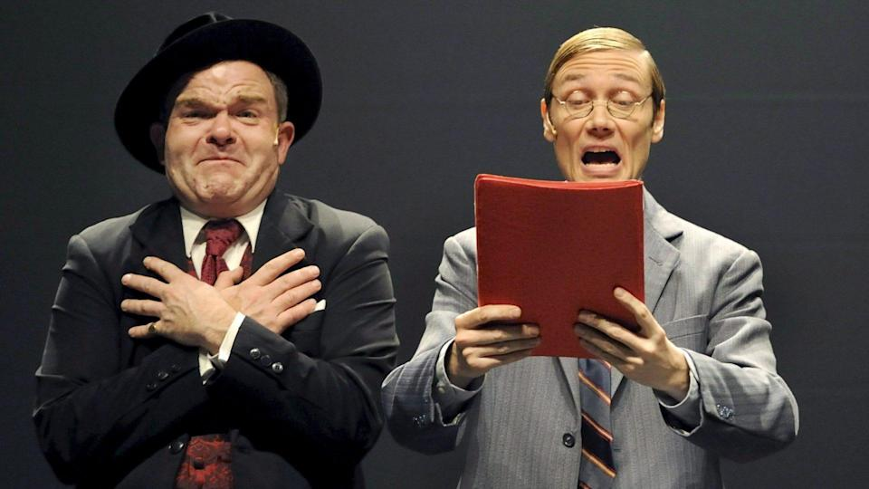 Mandatory Credit: Photo by Klaus-Dietmar Gabbert/EPA/Shutterstock (8210311b)Cormelius Obonya As Max Bialystock (l) and Andreas Bieber As Leo Bloom (r) Perform During a Photo Rehearsal of 'The Producers' at Admiralspalast in Berlin Germany 11 December 2008 the Broadway Musical by Mel Brooks Premieres in Germany in May 2009 Germany BerlinGermany Broadway Musical - Dec 2008.