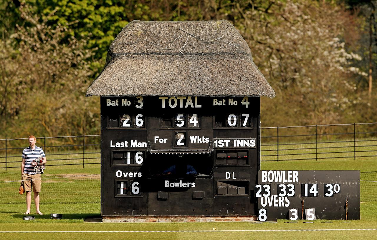 HIGH WYCOMBE, ENGLAND - MAY 06:  A general view of the scorers hut during the Yorkshire Bank 40 match between Unicorns and Gloucestershire at Wormsley Cricket Ground on May 6, 2013 in High Wycombe, England.  (Photo by Scott Heavey/Getty Images)