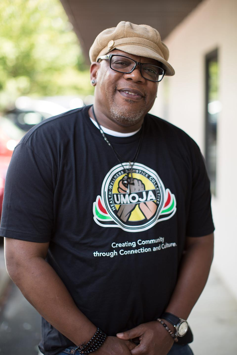 Michael Hayes posed for a portrait at Umoja Health, Wellness and Justice Collective in Asheville, NC on June 4, 2020.