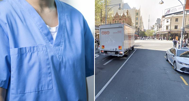A woman in blue nurse scrubs is pictured along with Hindley Street in Adelaide.