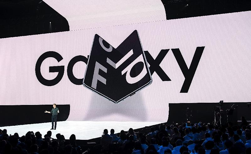 "The Galaxy Fold has been widely promoted as the ""world's first foldable smartphone"" (AFP Photo/Josh Edelson)"