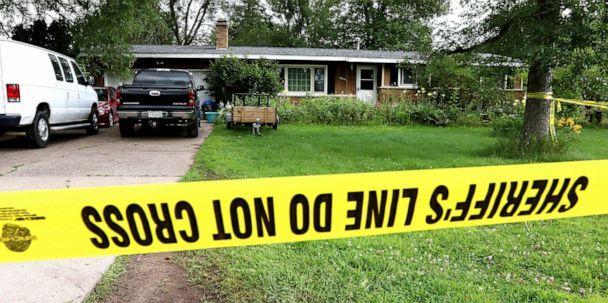 PHOTO: Police tape blocks off a home, July 29, 2019, in Lake Hallie, Wis., following a shooting the night before. (Dan Reiland/The Eau Claire Leader-Telegram via AP)