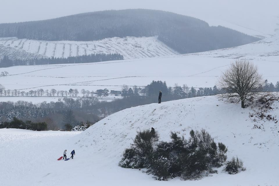 Snow covered fields near Auchterarder, Perthshire. Heavy snow and freezing rain is set to batter the UK this week, with warnings issued over potential power cuts and travel delays. (Photo by Andrew Milligan/PA Images via Getty Images)