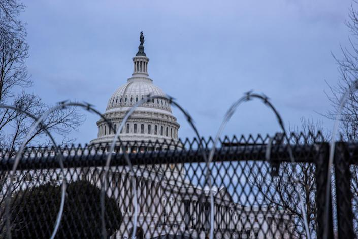 <p>Security has been tightened at the Capitol after warnings of a continued threat from domestic violent extremists</p> (Getty Images)