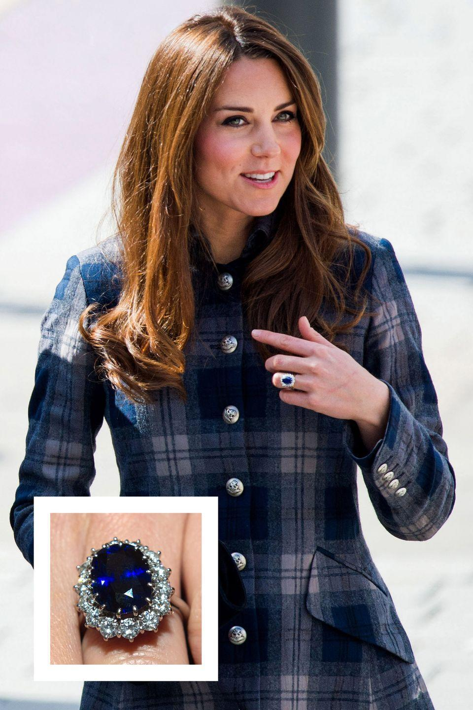 """<p>Prince William proposed to then-Kate Middleton back in 2010 with a familiar ring: <a href=""""https://www.townandcountrymag.com/style/jewelry-and-watches/a13052347/kate-middleton-engagement-ring/"""" rel=""""nofollow noopener"""" target=""""_blank"""" data-ylk=""""slk:the gorgeous sapphire engagement ring"""" class=""""link rapid-noclick-resp"""">the gorgeous sapphire engagement ring</a> that once <a href=""""https://www.townandcountrymag.com/style/jewelry-and-watches/a12050331/princess-dianas-jewelry-kate-middleton-wears/"""" rel=""""nofollow noopener"""" target=""""_blank"""" data-ylk=""""slk:belonged to his mother, Princess Diana."""" class=""""link rapid-noclick-resp"""">belonged to his mother, Princess Diana.</a> The ring features a 12-carat oval Ceylon center stone surrounded 14 solitaire diamonds <a href=""""https://www.townandcountrymag.com/style/jewelry-and-watches/a12810540/royal-jeweler-house-of-garrard-interview/"""" rel=""""nofollow noopener"""" target=""""_blank"""" data-ylk=""""slk:created by royal jeweler Garrard."""" class=""""link rapid-noclick-resp"""">created by royal jeweler Garrard.</a></p>"""