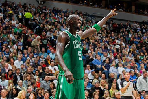 MINNEAPOLIS, MN - MARCH 30: Kevin Garnett #5 of the Boston Celtics reacts during a game against the Minnesota Timberwolves on March 30, 2012 at Target Center in Minneapolis, Minnesota. (Photo by David Sherman/NBAE via Getty Images)