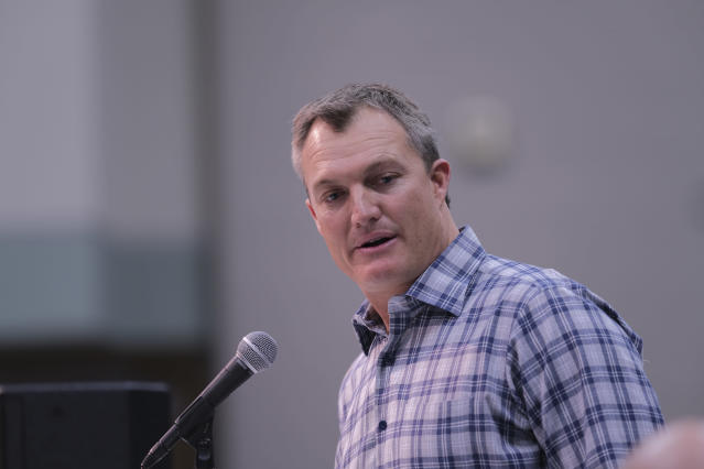 San Fansisco 49ers general manager John Lynch speaks during a press conference at the NFL football scouting combine in Indianapolis, Thursday, Feb. 28, 2019. Purdue won 73-56. (AP Photo/AJ Mast)