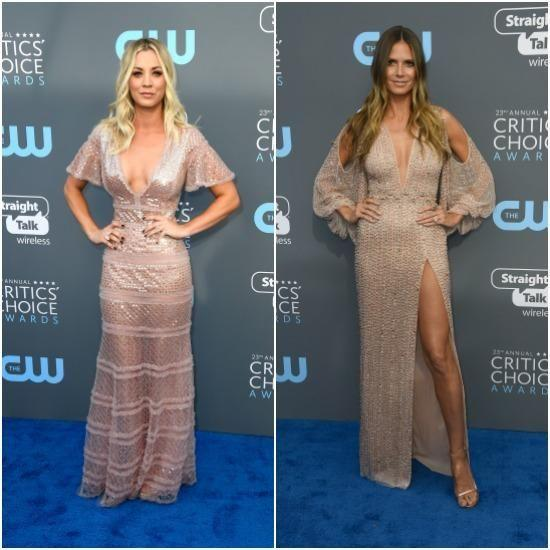 Heidi Klum also fell victim to twinning on the red carpet when Kaley Cuoco appeared wearing a very similar number. Photo: Getty Images