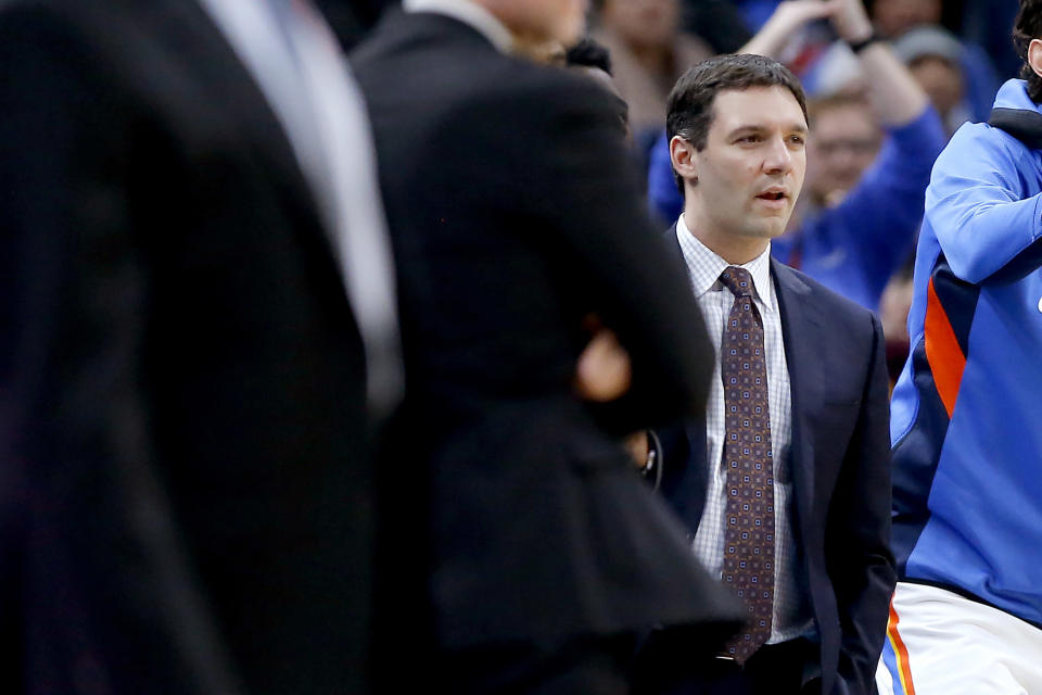 Oklahoma City Thunder NBA basketball assistant coach Mark Daigneault is shown during an NBA basketball game between the Thunder and San Antonio Spurs at Chesapeake Energy Arena in Oklahoma City, Tuesday, Feb. 11, 2020. The Oklahoma City Thunder promoted assistant Mark Daigneault to head coach on Wednesday, Nov. 11, 2020, handing the team over to the 35-year-old former coach of its G League team. (Bryan Terry/The Oklahoman via AP)