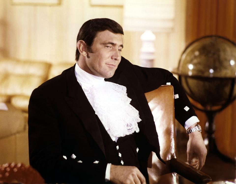 Australian actor George Lazenby on the set of On Her Majesty's Secret Service, directed by British Peter R. Hunt. (Photo by Sunset Boulevard/Corbis via Getty Images)