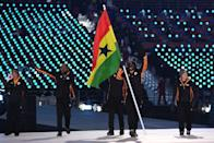 <p>Flag bearer Akwasi Frimpong of Ghana leads the team, who wear jackets featuring paneling with the nation's colors during the opening ceremony of the 2018 PyeongChang Games. (Photo: Quinn Rooney/Getty Images) </p>