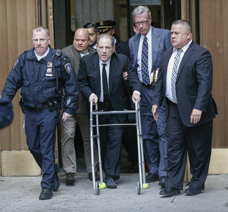 NEW YORK, NY - JANUARY 06: Harvey Weinstein leaves court on January 6, 2020 in New York City. Weinstein, a movie producer whose alleged sexual misconduct helped spark the #MeToo movement, pleaded not-guilty on five counts of rape and sexual assault against two unnamed women and faces a possible life sentence in prison. (Photo by Kena Betancur/Getty Images)