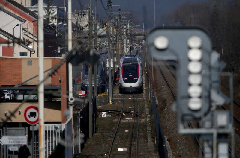 FILE PHOTO: Trains are seen at the Alstom high-speed train TGV factory of the company in Belfort
