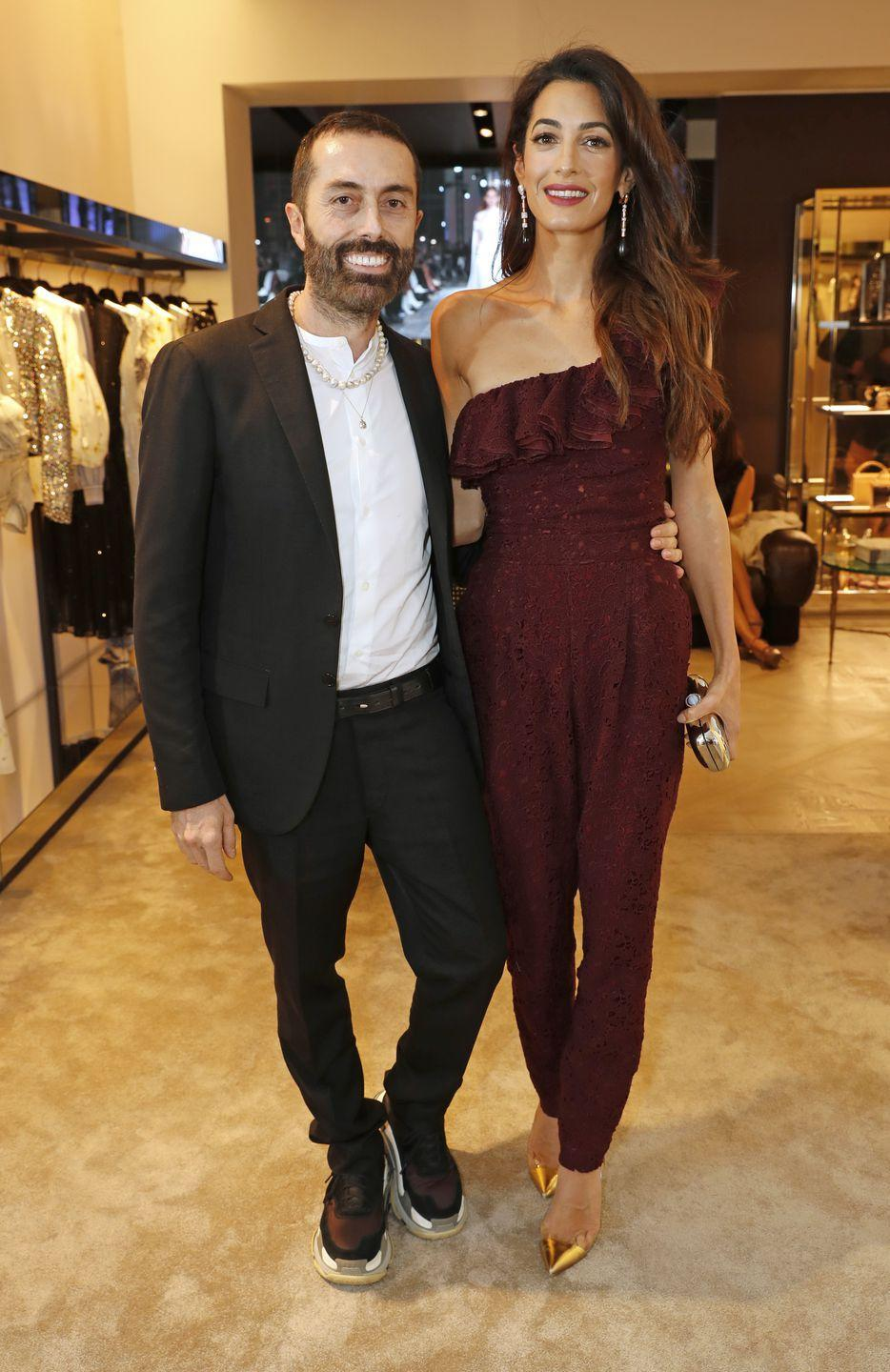 <p>The pair pose together at the Giambattista Valli London store opening.</p>