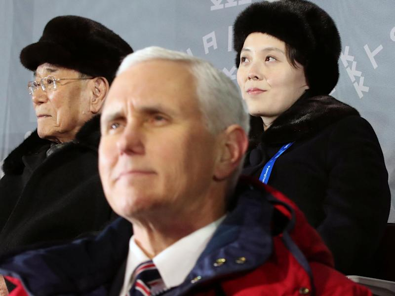 US vice president Mike Pence sits just feet from Kim Jong-un's sister Kim Yo-jon (back right): Reuters