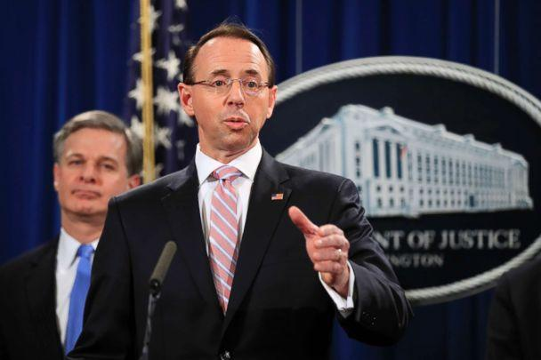 PHOTO: Deputy Attorney General Rod Rosenstein speaks during a news conference at the Department of Justice in Washington, Dec. 20, 2018. (Manuel Balce Ceneta/AP, FILE)