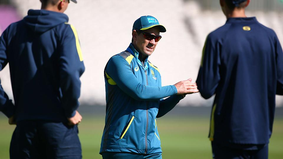 Pictured here, coach Justin Langer during an Aussie training session.