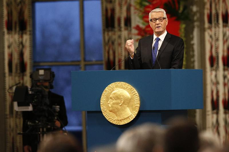Chairman of the Norwegian Nobel Committee Thorbjorn Jagland speaks during the Nobel Peace Prize ceremony in City Hall Oslo Tuesday Dec. 10, 2013 The Organization for the Prohibition of Chemical Weapons is to receive the 2013 Peace Nobel Prize for its extensive efforts to eliminate chemical weapons. (AP Photo/Cornelius Poppe / NTB scanpix) NORWAY OUT