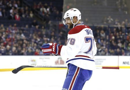 FILE PHOTO: 26, 2015; Columbus, OH, USA; Montreal Canadiens defenseman Andrei Markov (79) celebrates after scoring a goal in the first period against the Columbus Blue Jackets at Nationwide Arena. Aaron Doster-USA TODAY Sports/File Photo