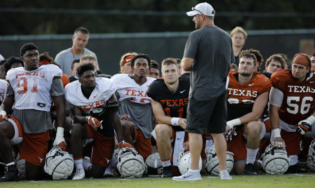 Texas Longhorns head coach Tom Herman talks with the team after practice Wednesday Sept. 4, 2019 in Austin, Tx. ( Photo by Edward A. Ornelas )