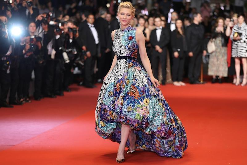 Cate Blanchett's spectacular blue Mary Katrantzou ball gown that took six months to make (AFP Photo/Valery HACHE)