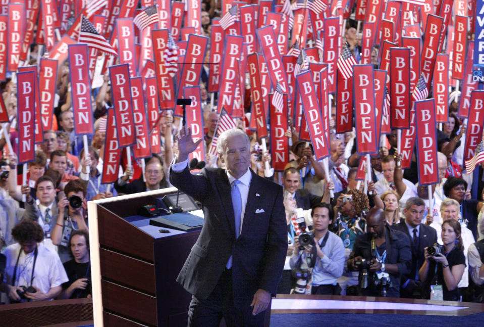 Democratic vice presidential candidate, Sen. Joe Biden, D-Del., waves to the crowed as he prepares to address the Democratic National Convention in Denver, Wednesday, Aug. 27, 2008. (AP Photo/Stephan Savoia)