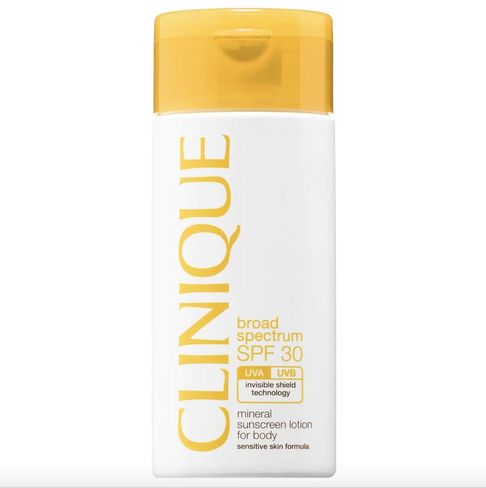 <p>The <span>Clinique Broad Spectrum SPF 30 Mineral Sunscreen Lotion For Body</span> ($34) is lightweight and spreads on the body like butter, and it also provides optimal protection without leaving behind any white or gray residue.</p>