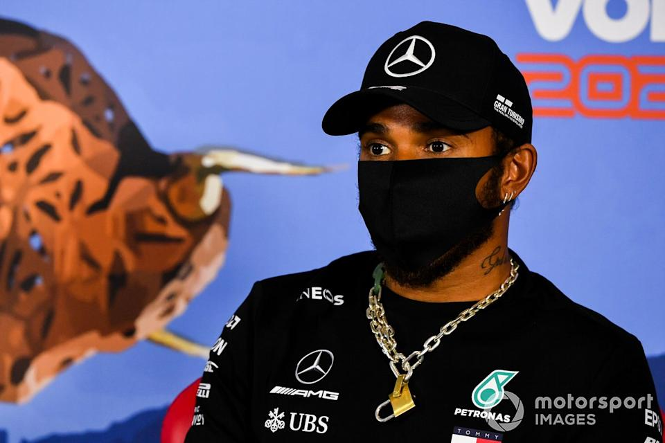 "Lewis Hamilton, Mercedes AMG F1 in the press conference <span class=""copyright"">Mark Sutton / Motorsport Images</span>"