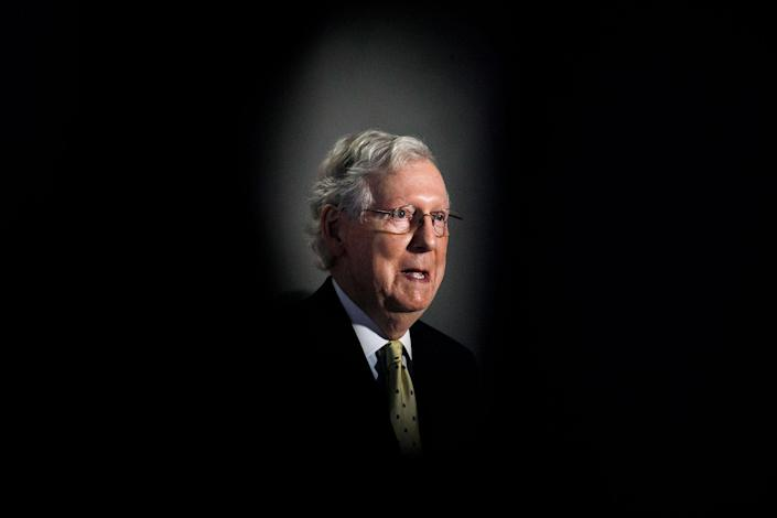 Senate Majority Leader Mitch McConnell of Ky., speaks during a news conference