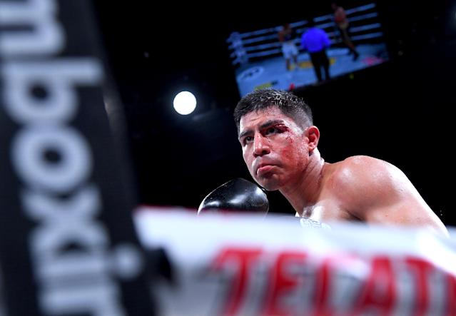 Jessie Vargas during his welterweight fight against Humberto Soto (not pictured) at The Forum on April 26, 2019 in Inglewood, California. Vargas scored a sixth-round technical knockout to defeat the former two-division champion. (Jayne Kamin-Oncea/Getty Images)