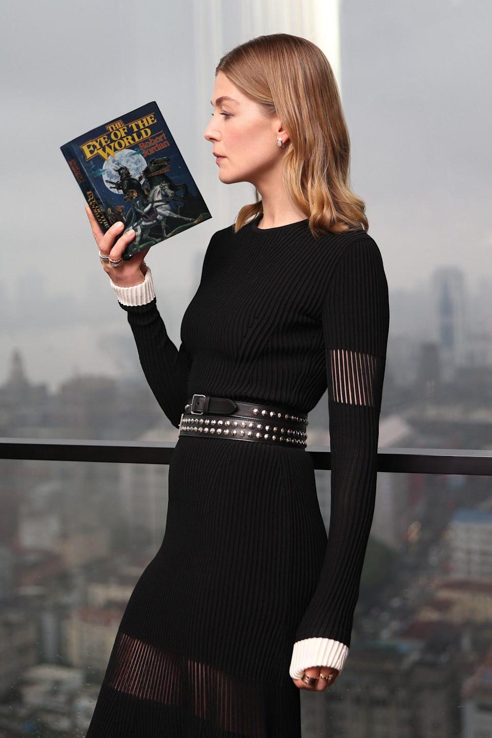 Rosamund Pike holds The Eye of the World