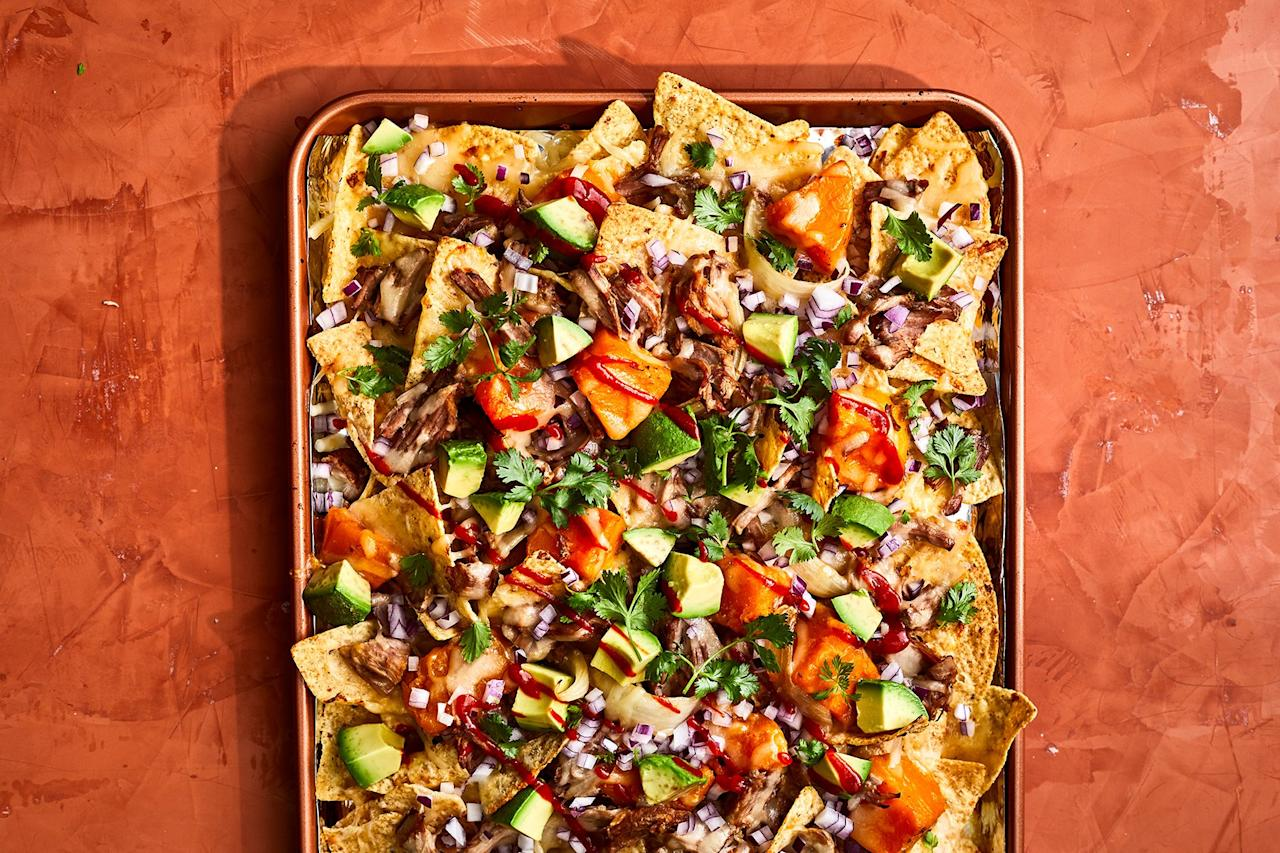"<p>Sure, you've had chili-doused nachos, and now it's time to meet their sophisticated cousin: nachos made with <a href=""https://www.realsimple.com/food-recipes/browse-all-recipes/ginger-coconut-pork-with-butternut-squash-recipe"">Ginger-Coconut Pork With Butternut Squash</a>. Shredded pork is standard fare, but it is the fork-tender butternut squash that steals the show with its gentle sweetness and creamy texture.</p> <p><strong>Get</strong><strong> the recipe: <a href=""https://www.realsimple.com/food-recipes/browse-all-recipes/braised-pork-and-squash-nachos-recipe"" target=""_blank"">Braised Pork and Squash Nachos</a></strong></p>"