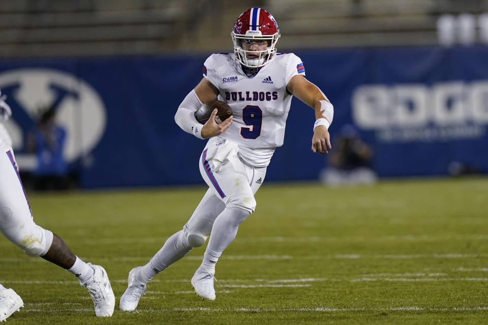 Louisiana Tech quarterback Luke Anthony carries the ball against BYU during the first half of an NCAA college football game Friday, Oct. 2, 2020, in Provo, Utah. (AP Photo/Rick Bowmer, Pool)