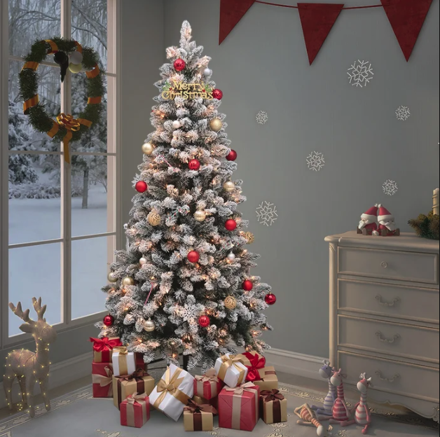 """<p><strong>The Holiday Aisle</strong></p><p>wayfair.com</p><p><a href=""""https://go.redirectingat.com?id=74968X1596630&url=https%3A%2F%2Fwww.wayfair.com%2Fholiday-decor%2Fpdp%2Fthe-holiday-aisle-flocked-green-spruce-artificial-christmas-tree-with-clearwhite-lights-w002656688.html&sref=https%3A%2F%2Fwww.bestproducts.com%2Fhome%2Fg34729900%2Famazon-wayfair-artificial-christmas-tree-sales%2F"""" rel=""""nofollow noopener"""" target=""""_blank"""" data-ylk=""""slk:Shop Now"""" class=""""link rapid-noclick-resp"""">Shop Now</a></p><p><strong><del>$136.99</del> $119.90 (12% off)</strong></p><p>With small, snow-liked detailing, this faux Christmas tree will transport your living room into a winter wonderland. </p>"""
