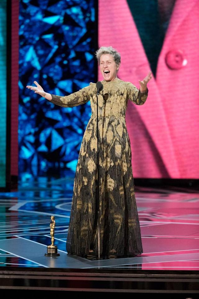 Frances McDormand accepts the Oscar for Best Actress at the Academy Awards on March 4, 2018. (Photo: Craig Sjodin via Getty Images)