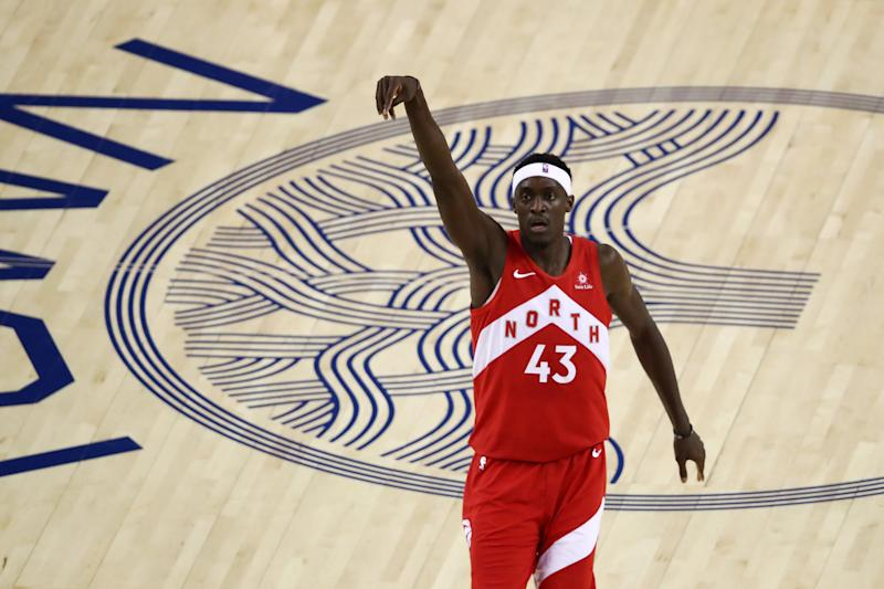 OAKLAND, CALIFORNIA - JUNE 13: Pascal Siakam #43 of the Toronto Raptors reacts to his shot against the Golden State Warriors in the first half during Game Six of the 2019 NBA Finals at ORACLE Arena on June 13, 2019 in Oakland, California. NOTE TO USER: User expressly acknowledges and agrees that, by downloading and or using this photograph, User is consenting to the terms and conditions of the Getty Images License Agreement. (Photo by Ezra Shaw/Getty Images)