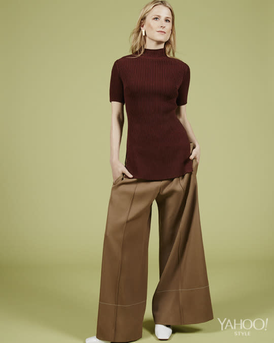 "<p>Céline Wool and Viscose, Price Upon Request, <a href=""https://www.celine.com/en%20"">celine.com</a> <br /><br /> Céline Wide leg Pants, Price Upon Request,<a href=""https://www.celine.com/en%20""> celine.com</a> <br /><br /> Céline Leather Shoes, Price Upon Request, <a href=""https://www.celine.com/en"">celine.com</a> <br /><br /> Maiyet Empire Tiered Earrings in 18k Gold Plated Brass, $385, Available at Maiyet, 4, 676 Broadway, New York, NY, 646.602.000</p>"