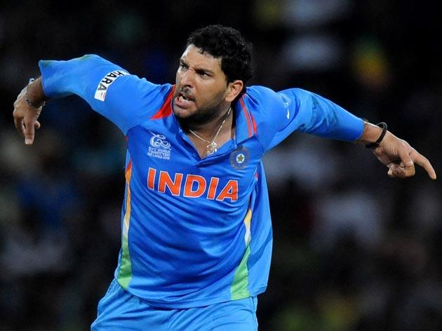 COLOMBO, SRI LANKA - SEPTEMBER 30:  Yuvraj Singh of India celebrates the wicket of   Kamran Akmal of Pakistan   during the ICC T20 World Cup, Super Eight group 2 cricket match between Pakistan and India held at R. Premadasa Stadium on September 30, 2012 in Colombo, Sri Lanka.  (Photo by Pal Pillai/Getty Images)