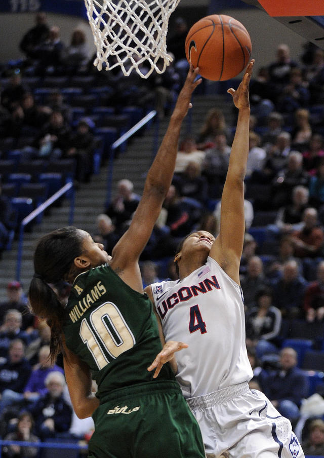 Connecticut's Moriah Jefferson (4) drives past South Florida's Courtney Williams (10) during the first half of an NCAA college basketball game in Hartford, Conn., Sunday, Jan. 26, 2014. (AP Photo/Fred Beckham)