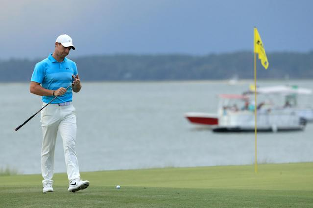 Rory McIlroy of Northern Ireland walks on the 18th green during the second round of the RBC Heritage on June 19, 2020, at Harbour Town Golf Links in Hilton Head Island, South Carolina. (Streeter Lecka/Getty Images)